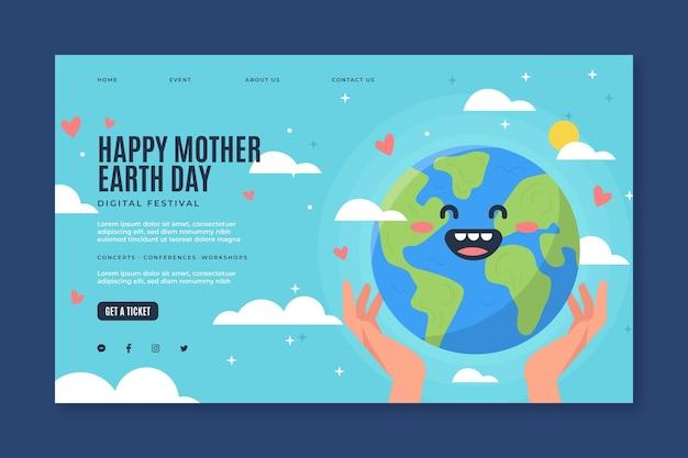 Plantilla de página de destino para la celebración del día de la madre tierra