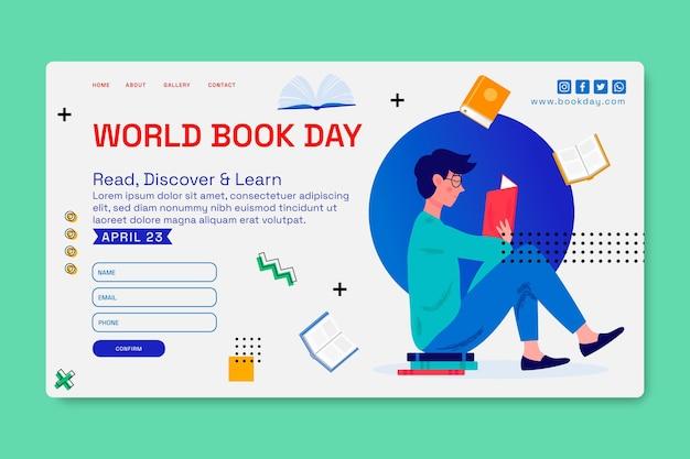 Plantilla de página de destino para la celebración del día mundial del libro