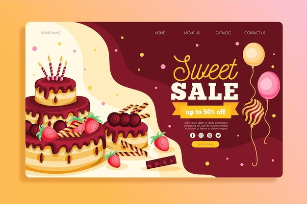 Plantilla de página de destino para celebración de fiesta de cumpleaños
