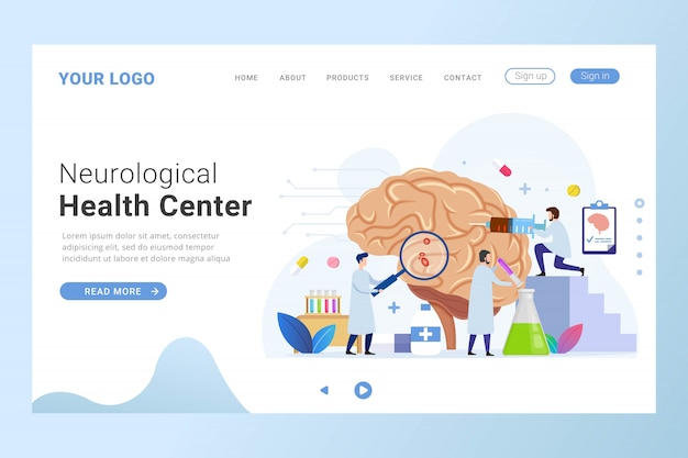 Plantilla de página de destino del centro de salud neurológica