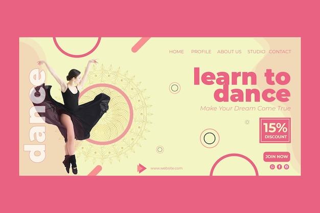 Plantilla de página de destino de clase de baile con foto