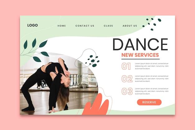 Plantilla de página de destino de clases de baile
