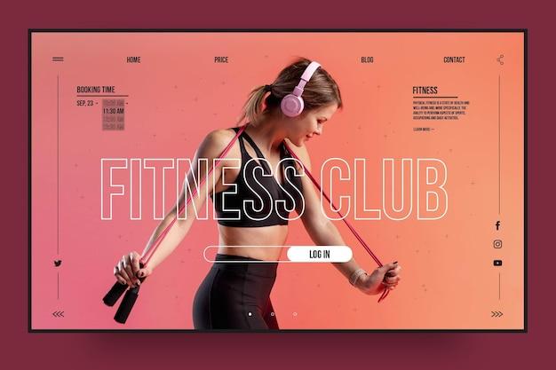 Plantilla de página de destino de club de fitness