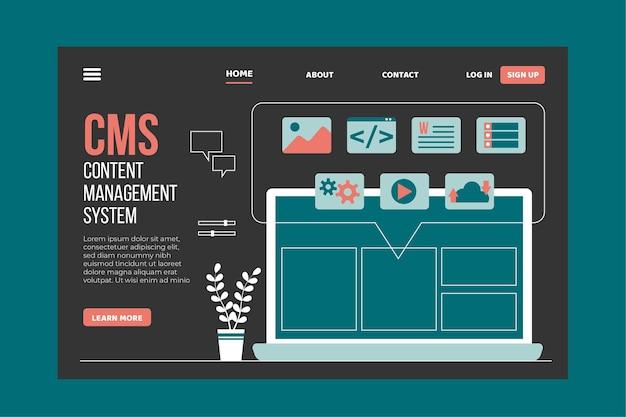 Plantilla de página de destino de cms de diseño plano