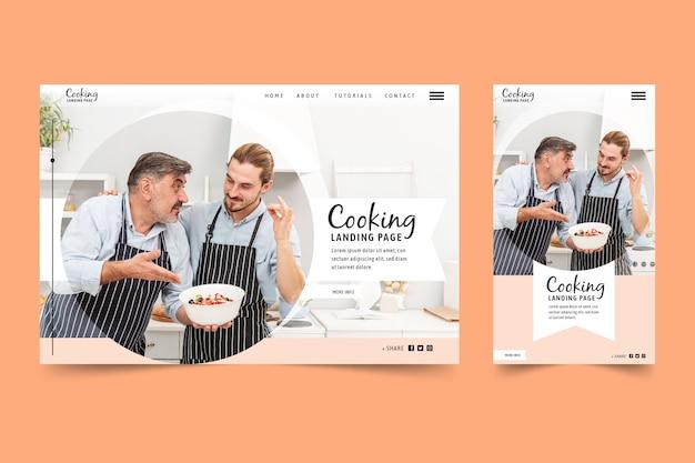 Plantilla de página de destino de cocina con foto