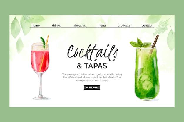 Plantilla de página de destino de cócteles de acuarela