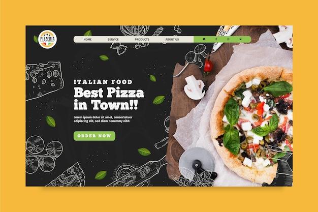 Plantilla de página de destino de comida italiana