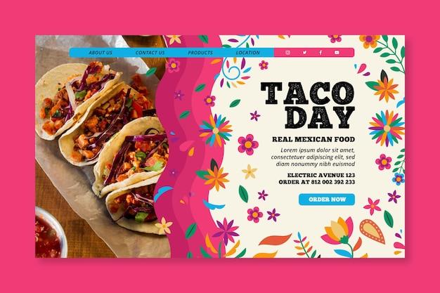 Plantilla de página de destino de comida mexicana