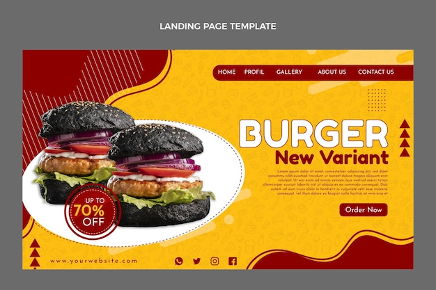 Plantilla de página de destino de comida rápida plana