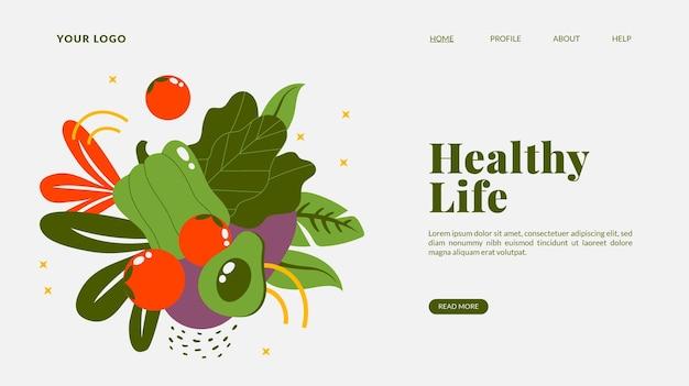 Plantilla de página de destino de comida vegetariana dibujada a mano