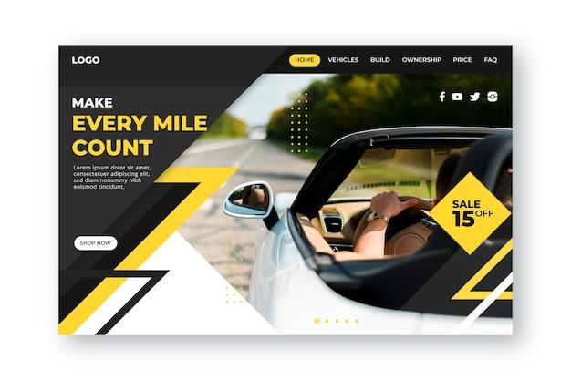 Plantilla de página de destino de compra de automóviles
