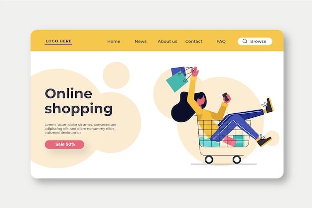 Plantilla de página de destino de compras en línea de diseño plano