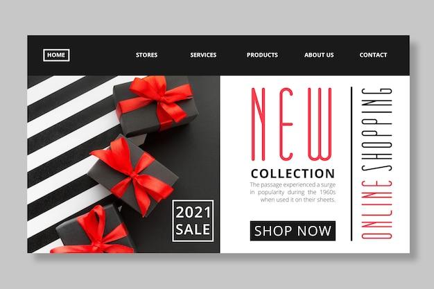 Plantilla de página de destino de compras y ventas en línea vector gratuito