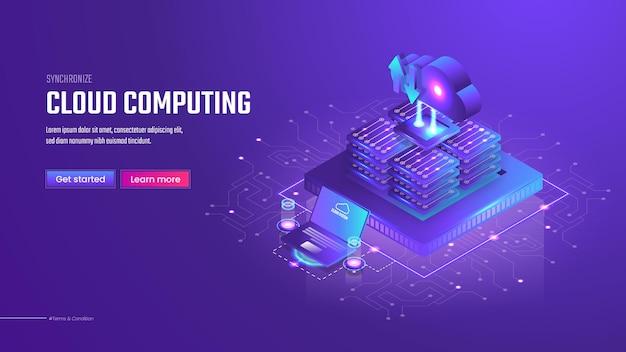 Plantilla de página de destino de computación en la nube isométrica 3d