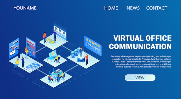Plantilla de página de destino para comunicación de oficina virtual, tecnología de ti inteligente