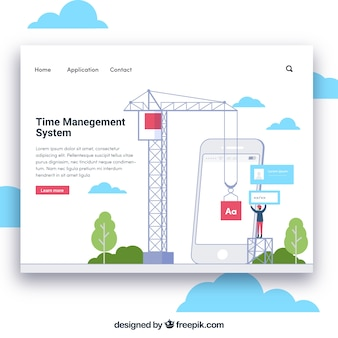 Plantilla de página de destino con concepto de administración de tiempo