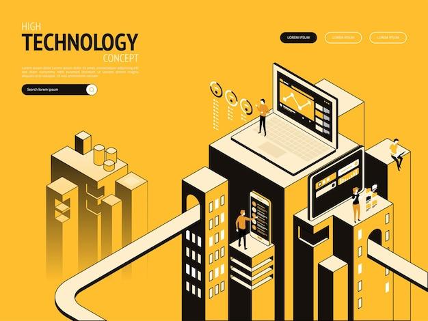 Plantilla de página de destino de concepto de alta tecnología