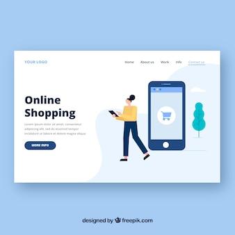 Plantilla de página de destino con concepto de compras por internet