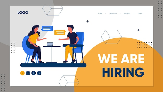 Plantilla de página de destino del concepto de contratación o reclutamiento