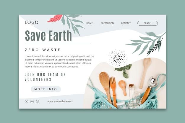 Plantilla de página de destino del concepto de desperdicio cero