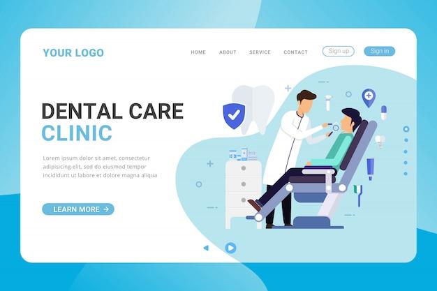 Plantilla de página de destino concepto de diseño de clínica de atención dental