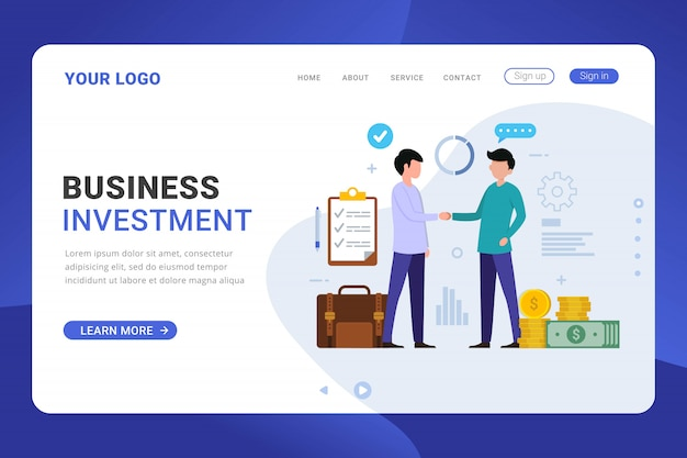 Plantilla de página de destino concepto de diseño de inversión empresarial