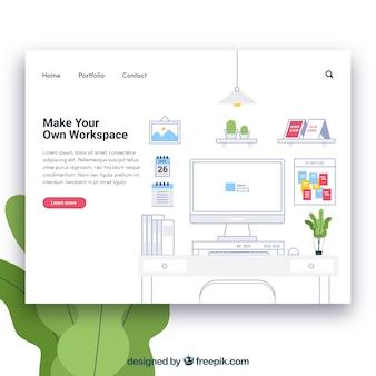 Plantilla de página de destino con concepto de espacio de trabajo