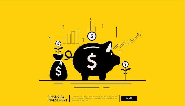 Plantilla de página de destino del concepto de inversión financiera con dinero y símbolo de alcancía.