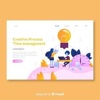 Plantilla de página de destino con concepto de proceso creativo