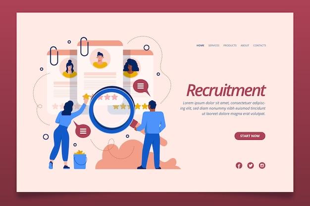 Plantilla de página de destino de concepto de reclutamiento
