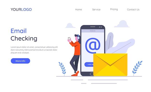 Plantilla de página de destino del concepto de verificación de correo electrónico con ilustración de personaje de mujer.