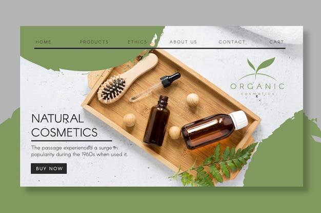 Plantilla de página de destino de cosméticos naturales