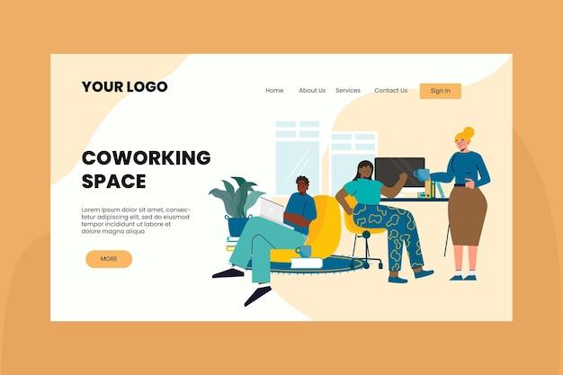 Plantilla de página de destino de coworking de diseño plano