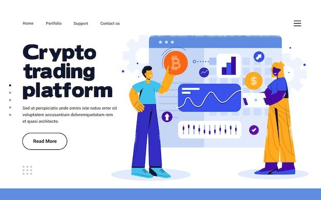 Plantilla de página de destino crypto trading en estilo de diseño plano
