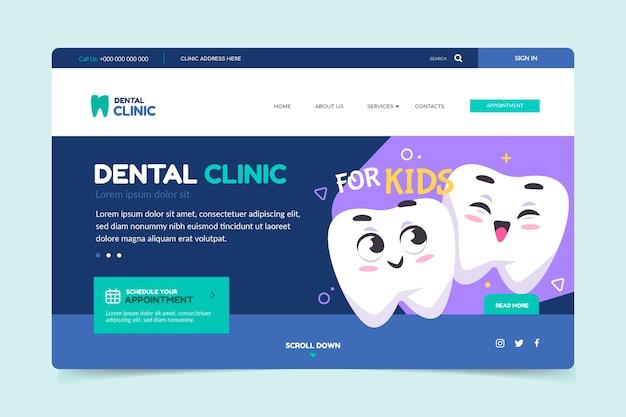 Plantilla de página de destino de cuidado dental de dibujos animados
