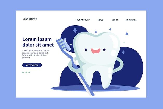 Plantilla de página de destino de cuidado dental de diseño plano
