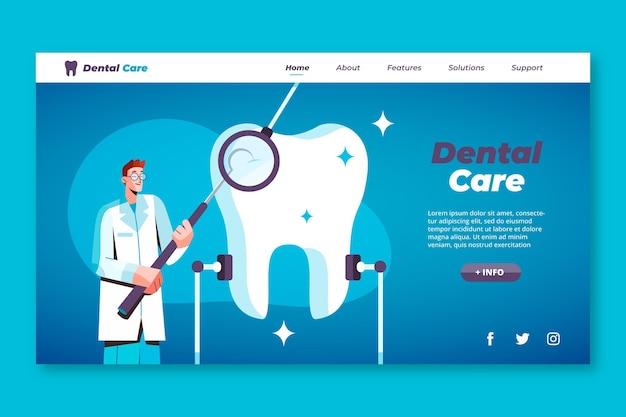 Plantilla de página de destino de cuidado dental plano