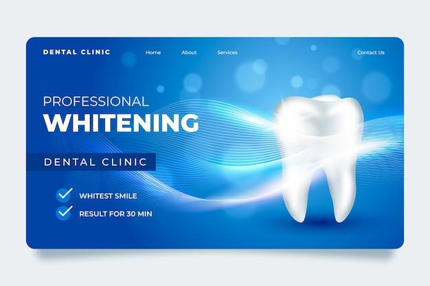 Plantilla de página de destino de cuidado dental realista