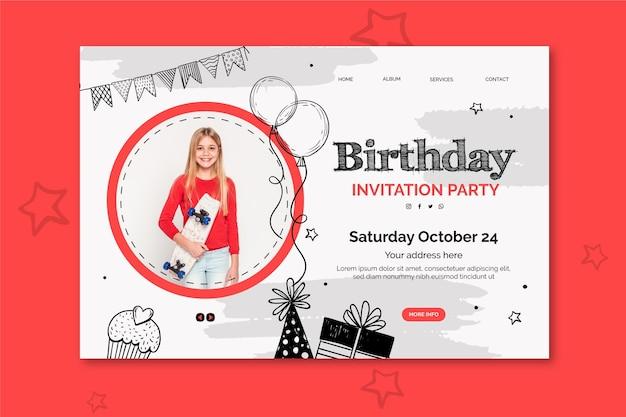 Plantilla de página de destino de cumpleaños con foto