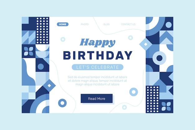 Plantilla de página de destino de cumpleaños de mosaico plano