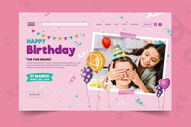 Plantilla de página de destino de cumpleaños para niños