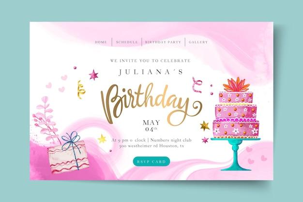 Plantilla de página de destino de cumpleaños