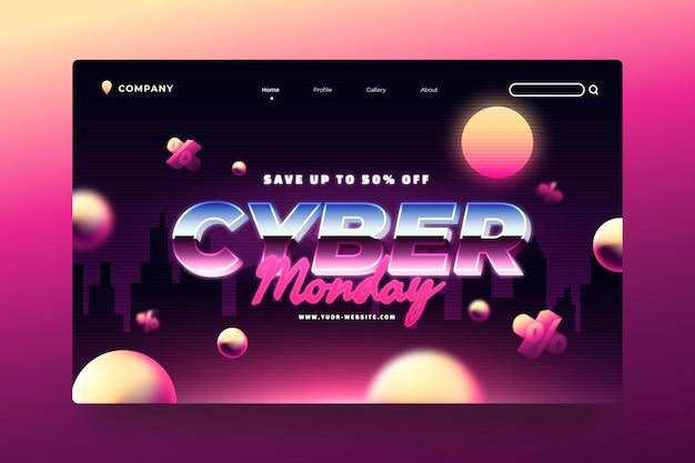 Plantilla de página de destino de cyber monday con degradado