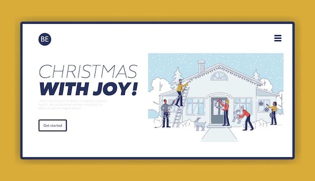Plantilla de página de destino de decoración navideña con personas que decoran la casa y el patio para la celebración de las vacaciones de invierno.