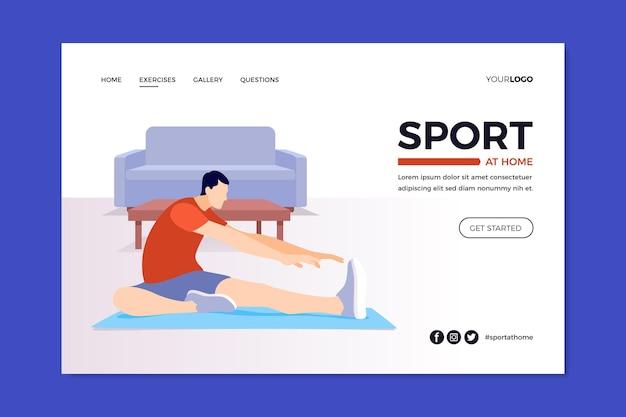 Plantilla de página de destino de deporte en casa