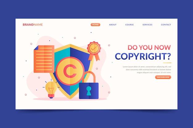 Plantilla de página de destino de derechos de autor con candado