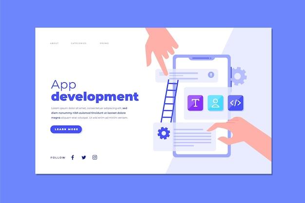 Plantilla de página de destino de desarrollo de aplicaciones