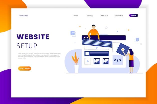 Plantilla de página de destino de desarrollo de sitio web de diseño plano