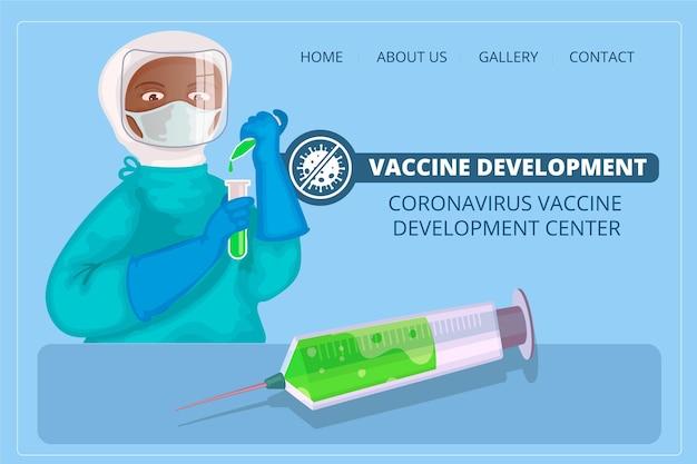 Plantilla de página de destino para el desarrollo de la vacuna contra el coronavirus