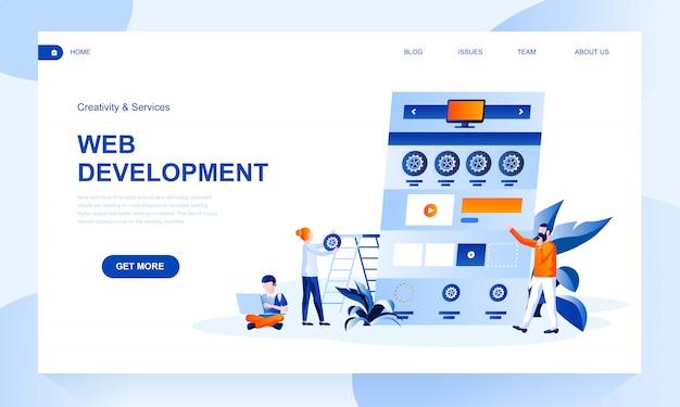 Plantilla de página de destino de desarrollo web con encabezado
